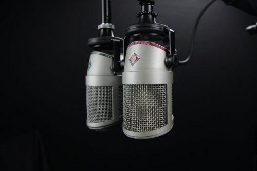 Dual Grey Studio Condenser Mics